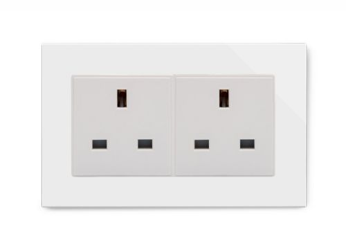 RetroTouch 13A Double Plug Socket Unswitched White Glass PG 00656